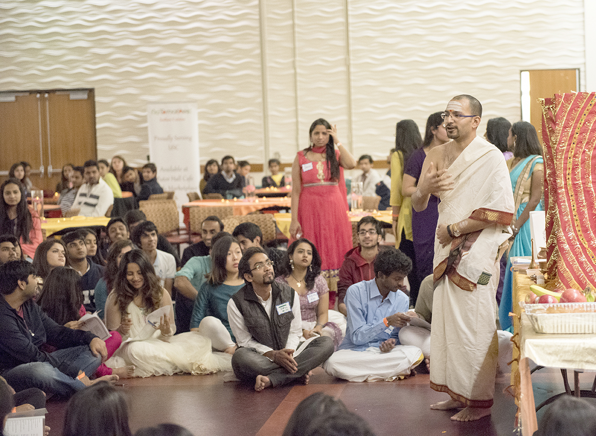 Festival of lights · Students listen to Swami Bhaidway Nandakumar lead the Pooja, a prayer, at a celebration of Diwali hosted by the Hindu Student Organization and Southern California Indo-Americans. - Mariya Dondonyan | Daily Trojan