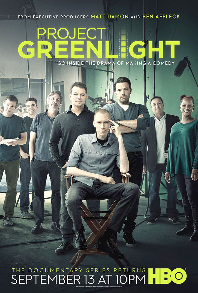 Lights, camera, action · Actors Matt Damon and Ben Affleck are two producers of the HBO series Project Greenlight. Both served on a panel that selected contestant Jason Mann from a talent search to direct a movie. Filmmaker Effie Brown also served on the panel. - Photo courtesy of HBO
