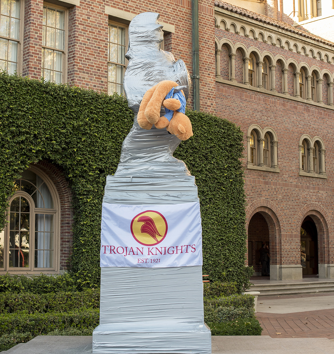 Tradition · Facilities Management Services duct-taped Tommy Trojan in anticipation of the annual rivalry week between USC and UCLA. - Tal Volk | Daily Trojan
