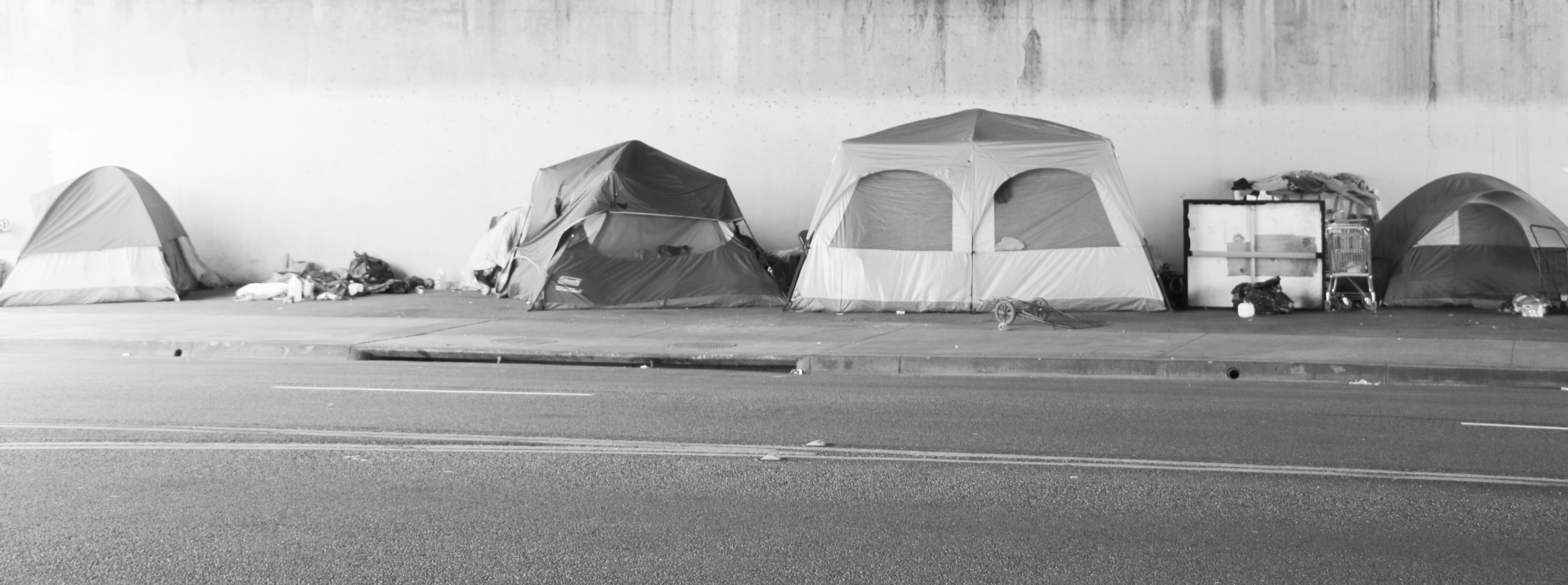 Tent City Every Night Thousands Of People Set Up Tents On The Sidewalk To