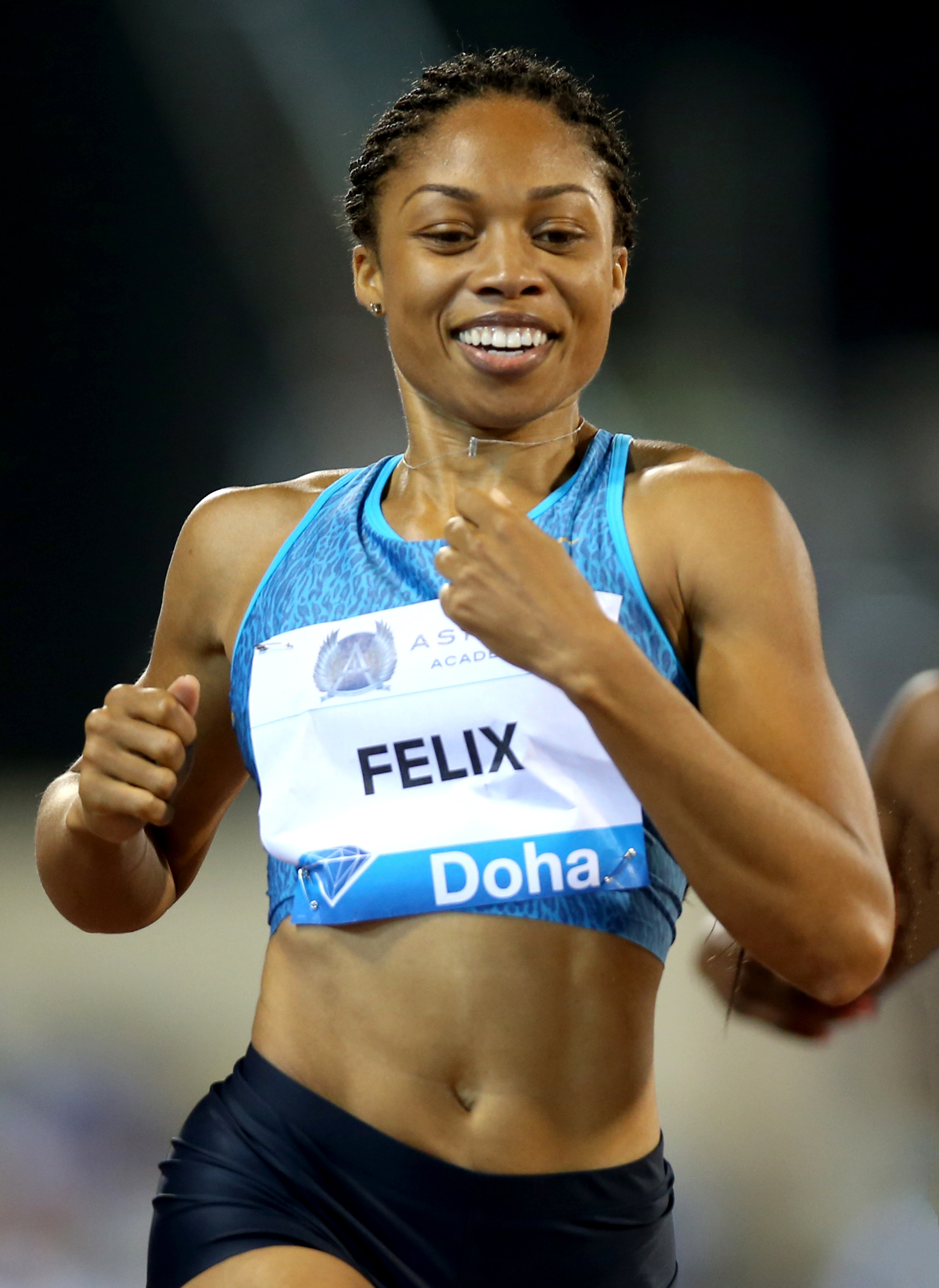 Photo courtesy of Wikicommons Shining gold · Allyson Felix cemented her legacy in Rio, winning two more gold medals. Her nine total medals are the most in Trojan history.