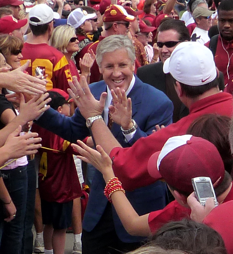 "Photo courtesy Bobak Ha'Eri Just like old times · USC fans have many fond memories of the Pete Carroll era, when the Trojans won two national championships. Here, Carroll participates in the ""Trojan Walk"" before a game in during the 2008 season."
