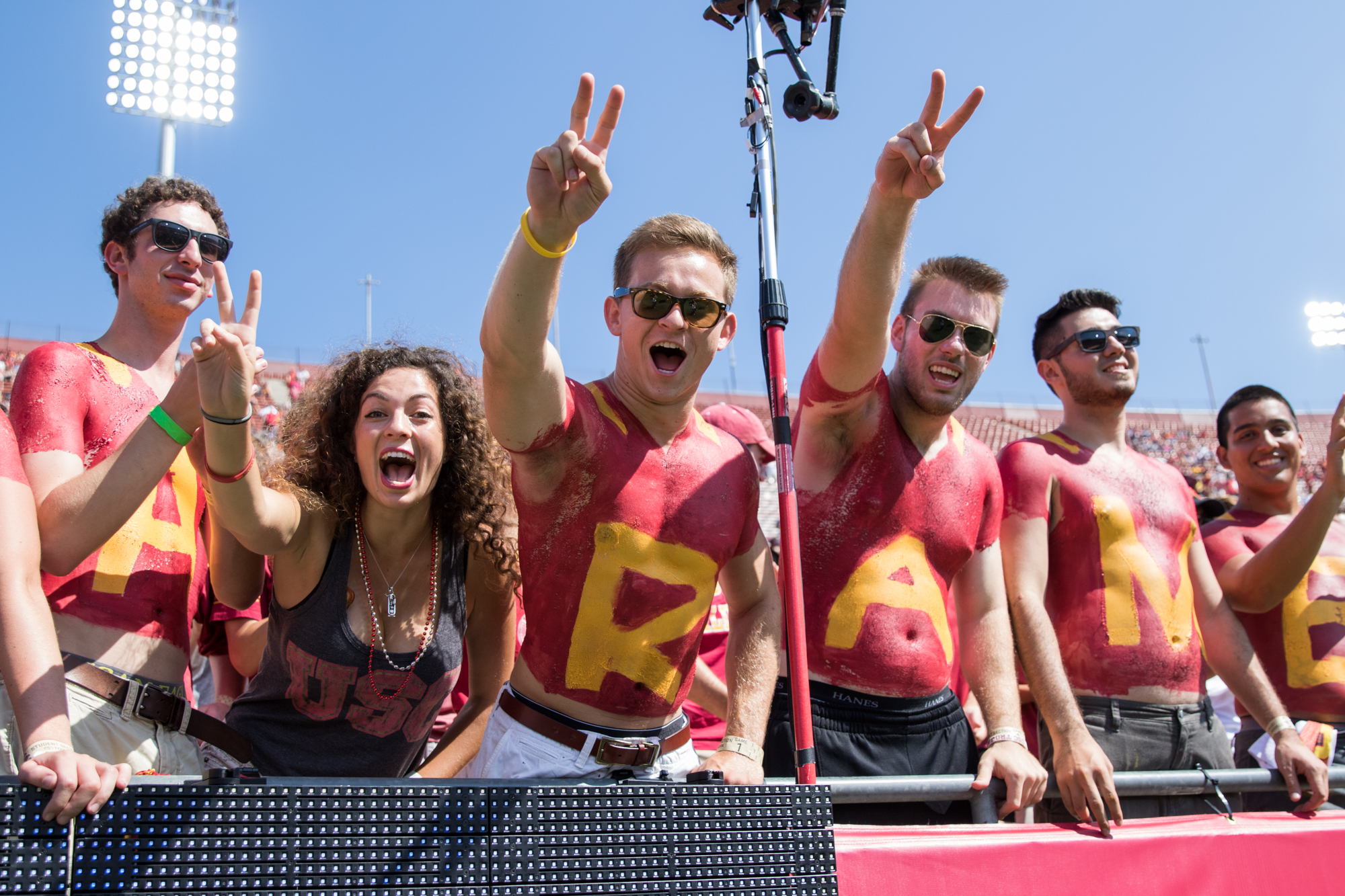 Nick Entin | Daily Trojan USC fans show their pride as they await football at the Coliseum for the first time this season.