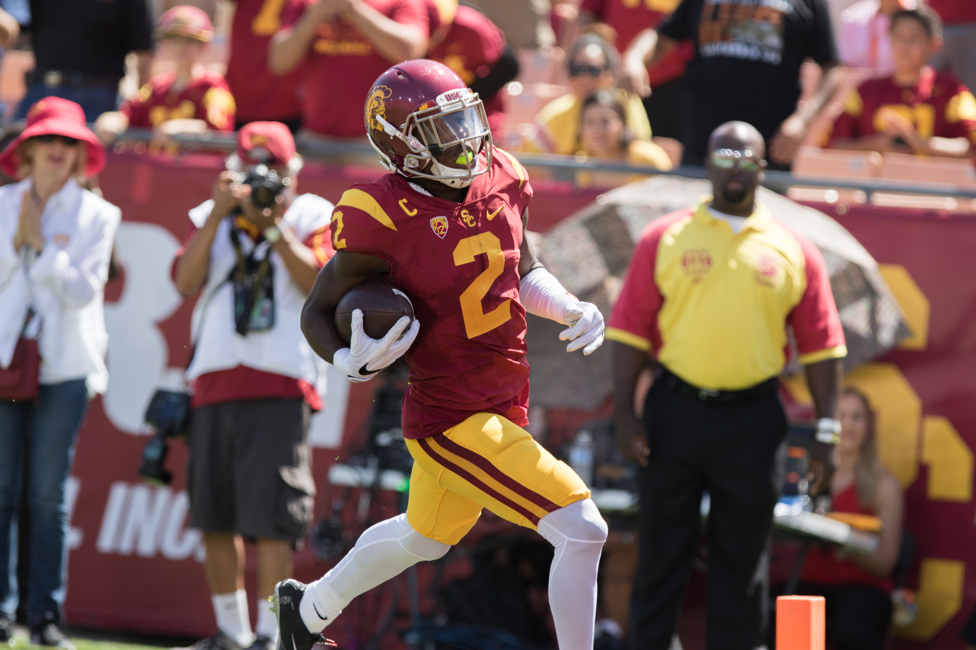 Nick Entin | Daily Trojan Junior Adoree' Jackson cruises into the end zone after a 79-yard punt return to extend USC's large lead.