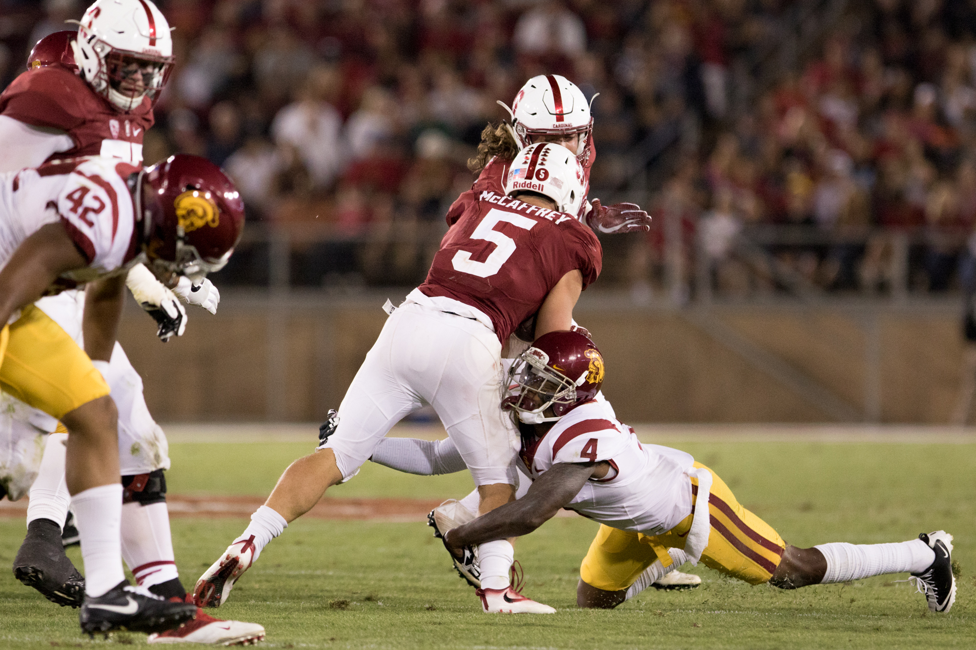 Nick Entin |Junior cornerback Adoree' Jackson tries to drag down Stanford's Christian McCaffrey. McCaffrey finished with 165 yards rushing and 260 all-purpose yards.