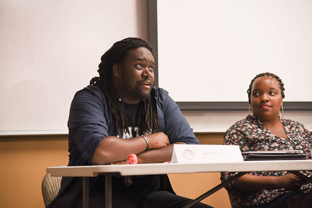 Sarah Kim | Daily Trojan Get schooled · David Turner, a representative from the Social Justice Learning Institute, explained the school-to-prison-pipeline Thursday.