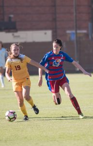 Sarah Kim | Daily Trojan Right out of the gate · Junior midfielder Sydney Sladek scored just a minute into the second half against Oregon, the first of two quick strikes.