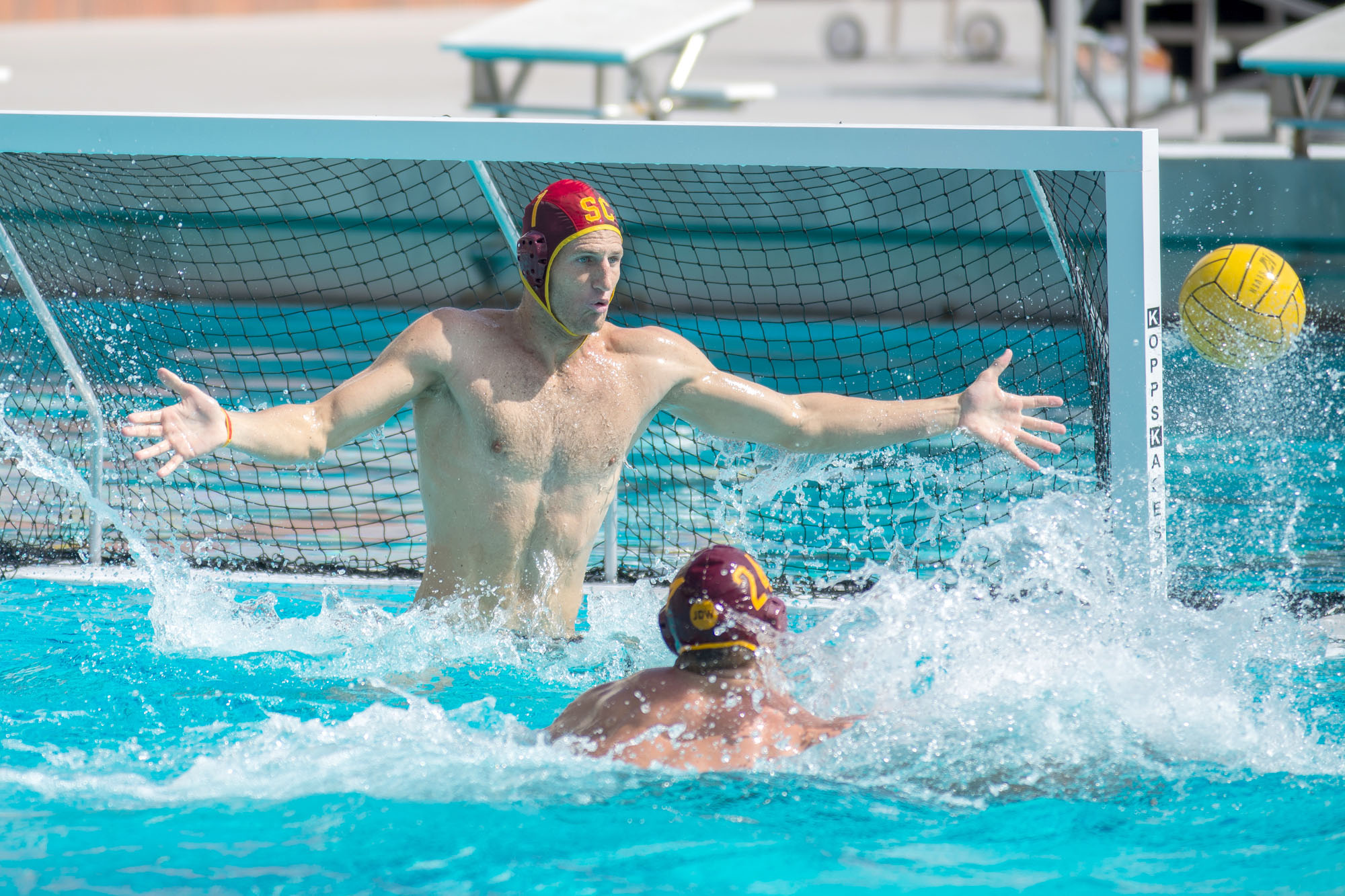 Jessica Zhou | Daily Trojan Manning the cage · Junior goalkeeper McQuin Baron has been stellar in goal for the men's water polo team in the early going. Baron, who played for Team USA in the Rio Olympics, entered the season with 570 career saves.