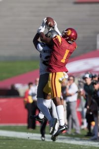 Senior wide receiver Darreus Rogers makes a interception-saving catch for the Trojans - Nick Entin | Daily Trojan