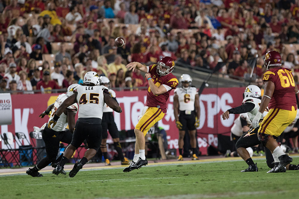 Nick Entin | Daily Trojan Super Sam · After just two starts, redshirt freshman quarterback Sam Darnold is turning heads with his proficiency running USC's offense. Darnold was named the starter before Week 4 and had his best game on Saturday at home against Arizona State, where he threw for 352 yards.