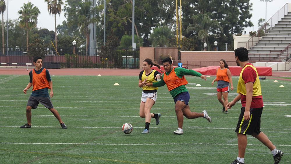 Photo courtesy of Jordan Arteaga Kick it! · The P.E. department had 1,919 students in 2000 and had 5,013 students in 2015. This rise has been credited to many things, one being the fact that students deem physical education worthwhile post-graduation.