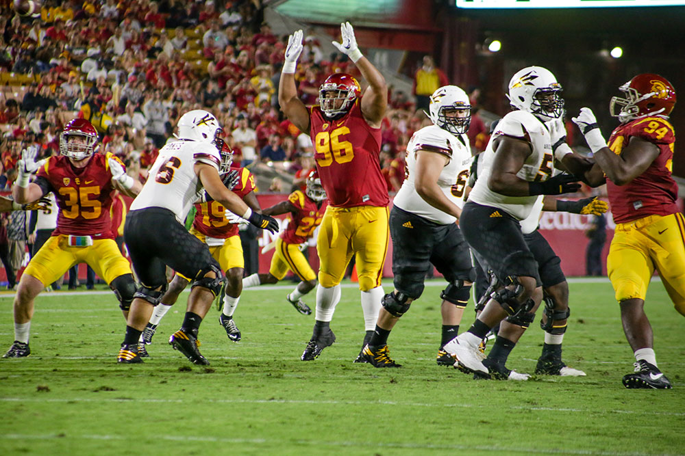 Trevor Sochocki | Daily Trojan Stop the ball · The USC defense held their past two opponents, ASU and Colorado, to their lowest scoring performances of the season. This week, the defense is facing the second best quarterback rush in the country.