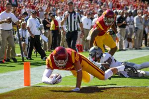 Trevor Sochocki | Daily Trojan Tight End U? · Sophomore tight end Tyler Petite scores his second touchdown, the eventual game-winner in Saturday's 21-17 victory over Colorado. All three of USC's touchdowns came off catches by tight ends.