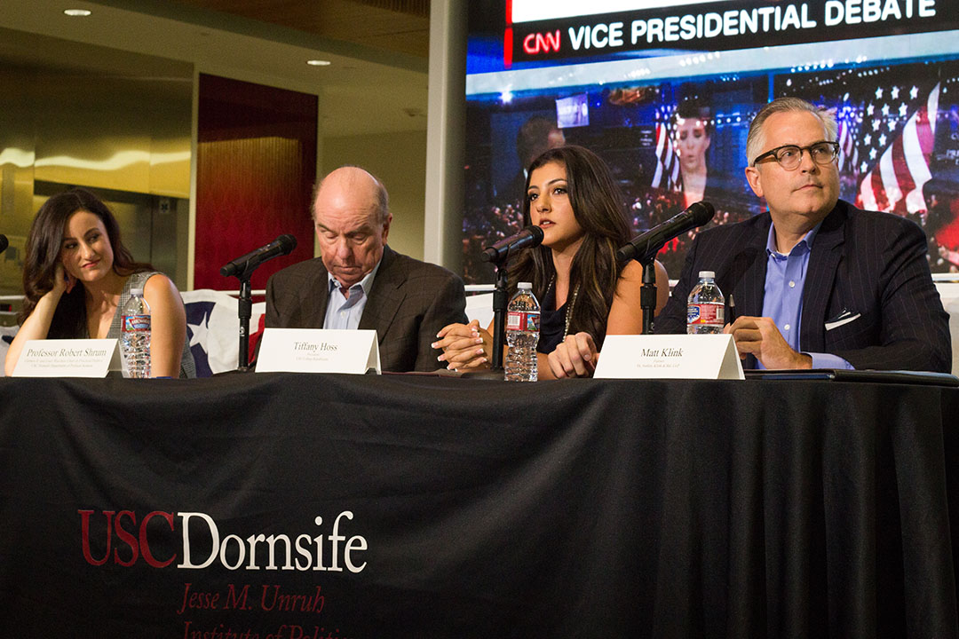 Florence Hui | Daily Trojan Running mate rivalry · Panelists Bob Shrum (left), Tiffany Hoss (center) and Matt Klink (right) spoke before and after the Vice Presidential Debate Tuesday to discuss the candidates' positions and performance at the debate.