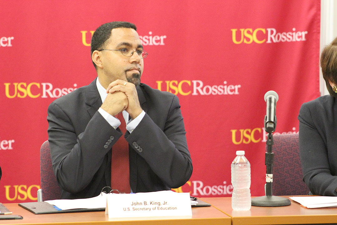 Julia Erickson | Daily Trojan Educational review · U.S. Secretary of Education John B. King Jr. held a roundtable discussion about various issues in the educational system at USC Rossier School of Education on Wednesday. afternoon.