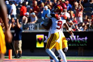 JuJu Smith-Schuster celebrates after catching one of his three touchdown passes - Sydney Richardson / The Daily Wildcat