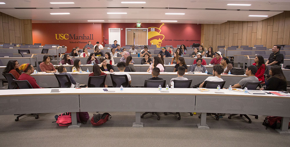 "Students and faculty members gather for a meeting of the USC IDEAS Movement, which stands for ""Improving Dreams, Education, Access and Success."" During the meeting, students discussed fearful questions of how to protect themselves and their families from the threat of deportation. — Photo by Trevor Sochocki"