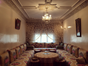 I'll never forget these extremely comfortable, ornate couches, which can double as beds. They are the center of a Moroccan house and determine the theme of the living room.