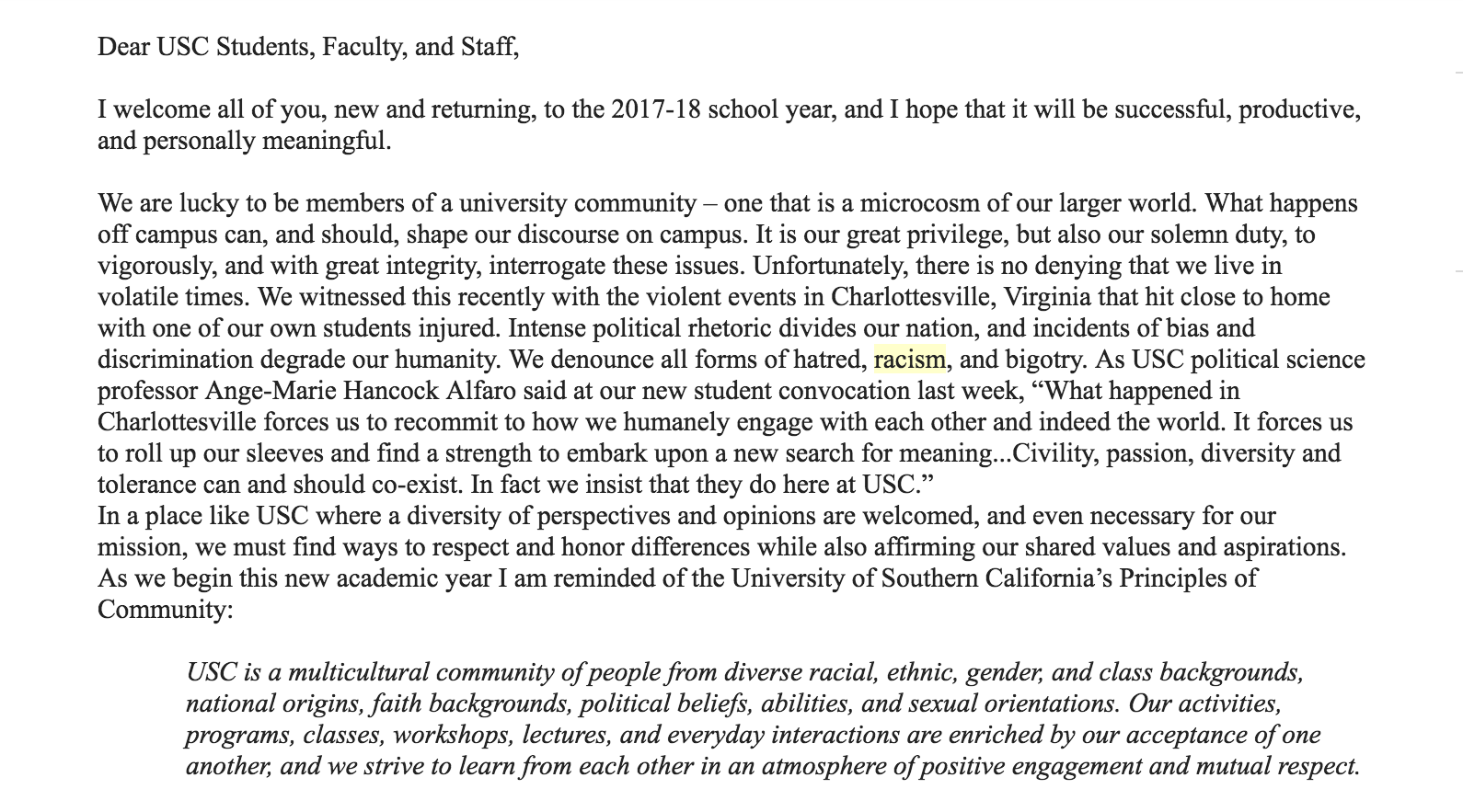 Provost Quick addresses racism, Charlottesville in letter to USC