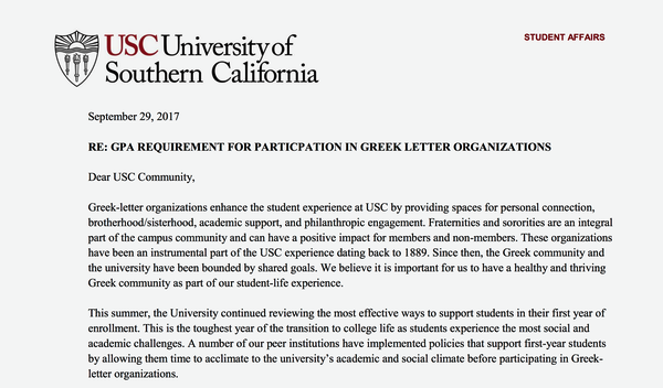 USC instates GPA and unit requirements for Greek recruitment