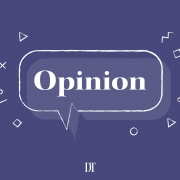 "This is a graphic design of the word ""opinion"" in a speech bubble. The background is purple and there are various shapes surrounding the speech bubble."