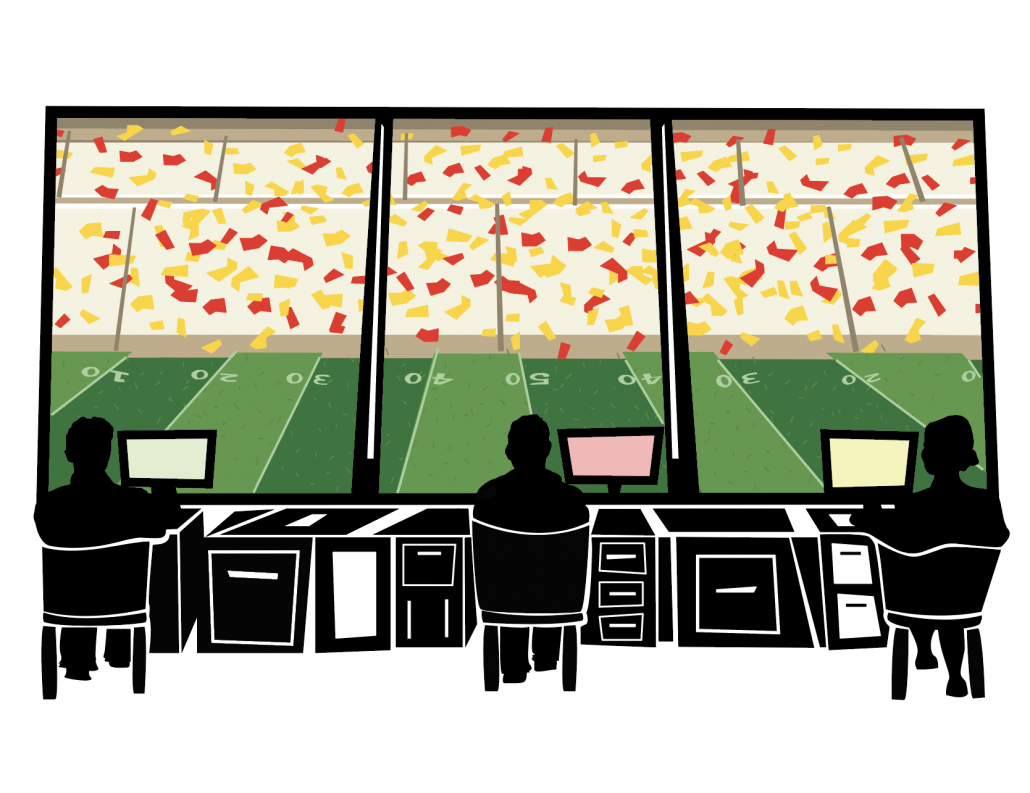 The art features journalists sitting in their own desk for social distancing purposes, watching a football game from the press box.