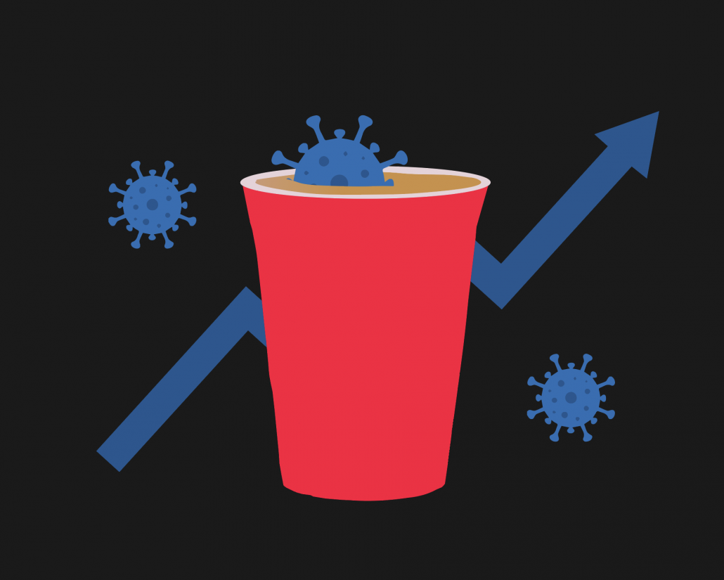 This is an illustration of a red solo cup filled with beer and a blue virus. there are two more viruses on either side of it and an arrow trending up against a black background.