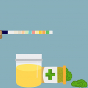 A drawing of a drug test designed to detect marijuana.