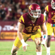 Cleveland Browns defensive lineman Porter Gustin lining up prior to a snap in a game for the USC Trojans.