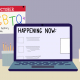 """A graphic of a desk with a laptop displaying the words """"HAPPENING NOW."""" An October calendar with rainbow colored words """"LGBTQ+"""" and """"virtual history month"""" is to the left."""