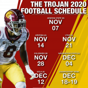 Schedule graphic for USC football in fall 2020.