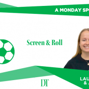 """Columnist graphic for fall 2020 column """"Screen and Roll"""" by Aidan Berg and Lauren Mattice"""
