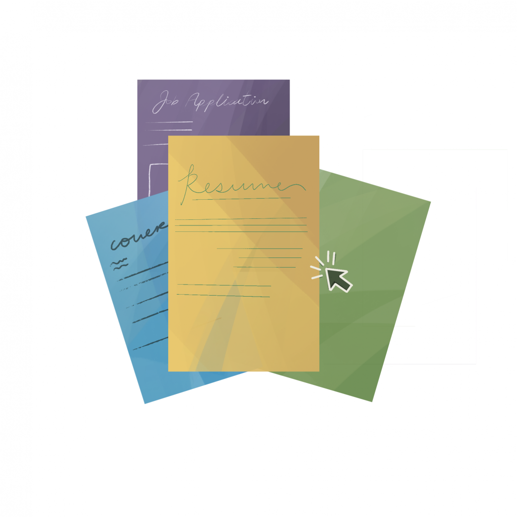 """A graphic depicting various, scattered multi-colored papers. One paper script reads """"Job Application"""" and the other """"Resume."""""""
