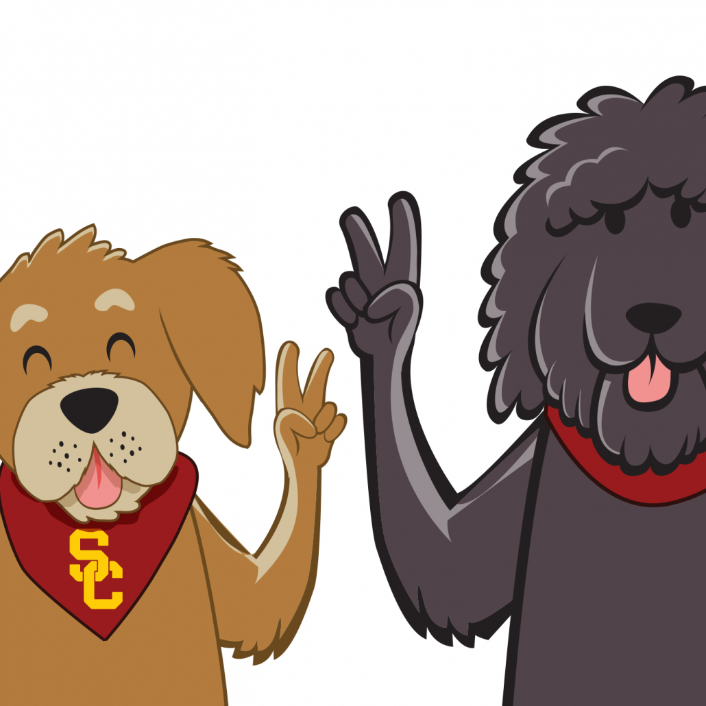 A graphic of Rumi (left) and beau (right) with both dogs holding fight on signs