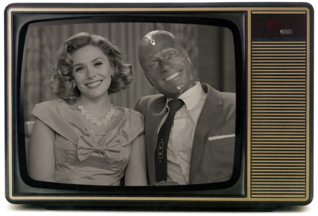 """A black & white photo inside a television design for new series """"Wandavision"""""""