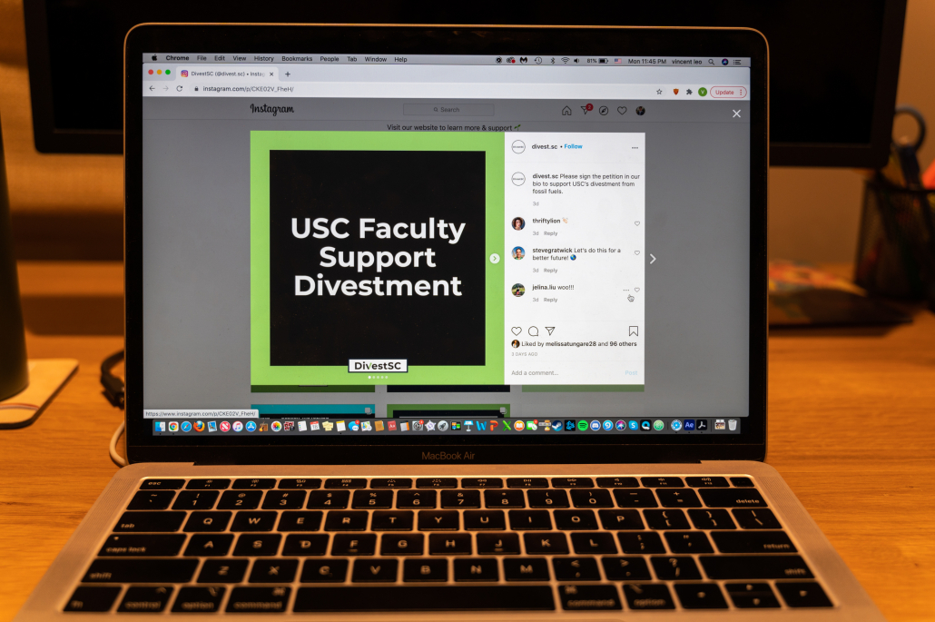 Photo of a computer screen open to Divest SC's Instagram post, which linked to a petition in support of USC's divestment from fossil fuels.