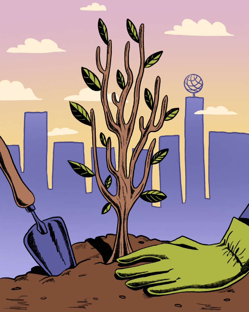 Graphic of a planted tree, a shovel and a hand wearing a garden glove, with a silhouette of USC's campus in the back.