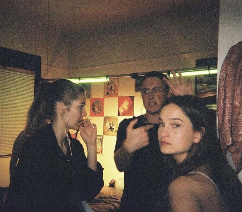 Carolyn Knapp, Graham Byers and Winona Weber on the set of Knapp's short film, at USC Surf Haus.