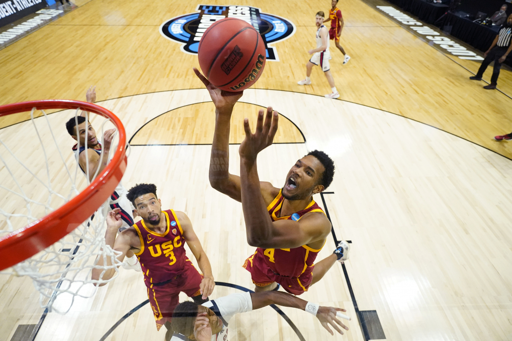 Evan Mobley attempting a layup against Gonzaga in the 2021 NCAA men's basketball tournament.