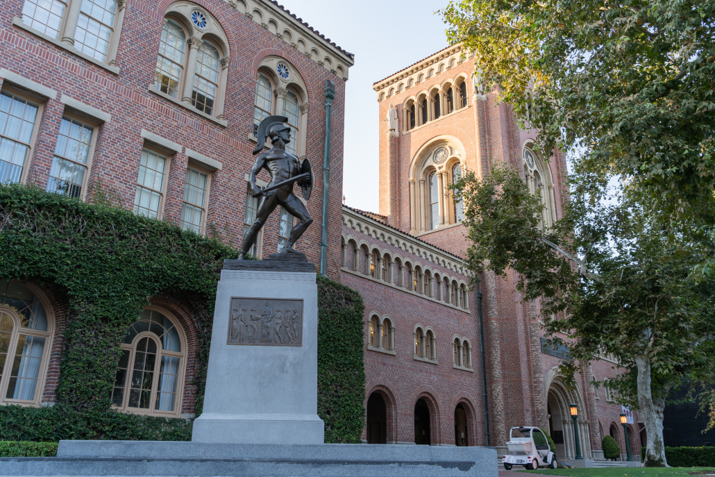 Tommy Trojan statue on USC campus.