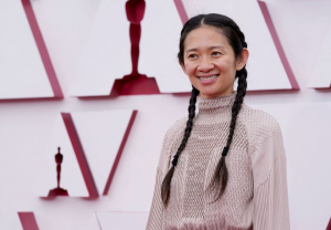 Chloe Zhao arrives at the 93rd Academy Awards, at Union Station.