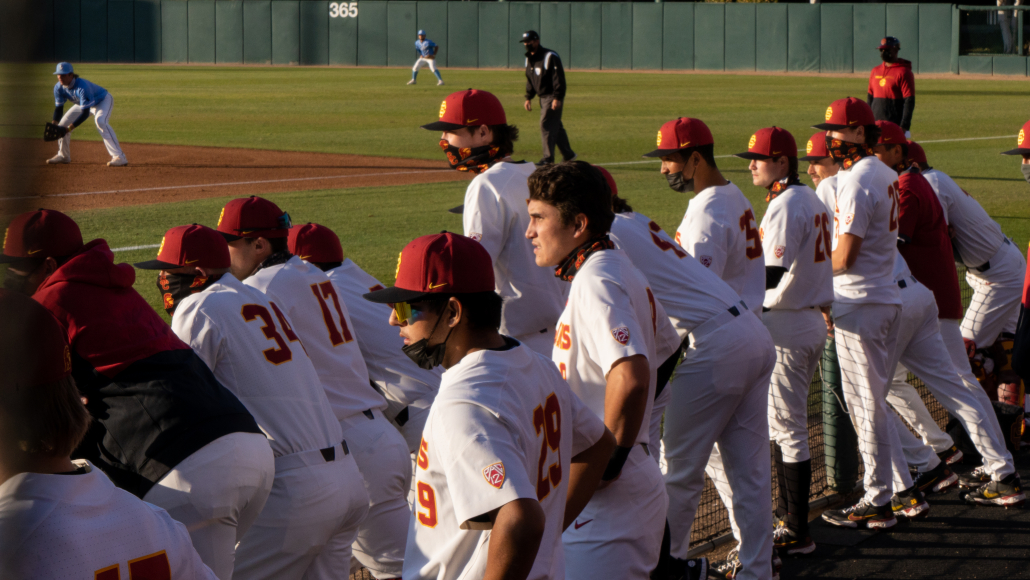 The USC baseball field looks out from their dugout