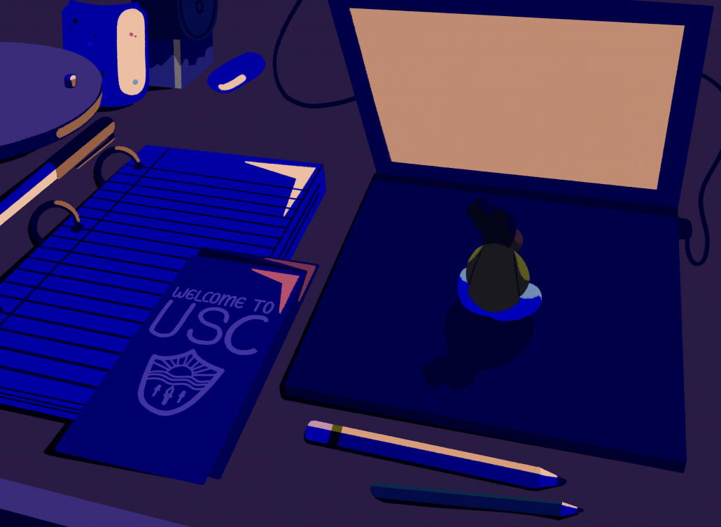 "A dark purple image with a notepad, pencil and poster with words ""welcome to USC."" A laptop is open with a figure sitting in the middle."