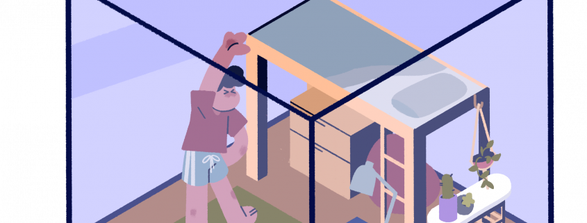 This is an illustration of a person inside a small, cube-shaped dorm room. The person is standing on a yoga mat surrounding by the bed, table with plants and a laptop and light on a desk.