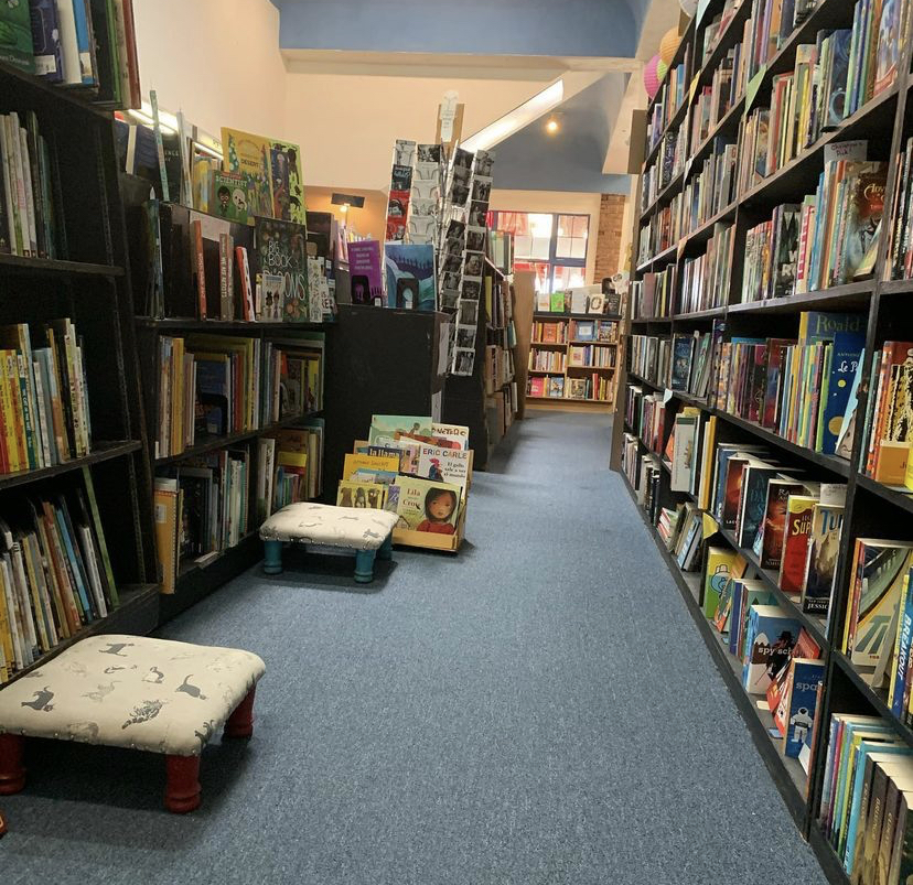 A photo of the children's book section in the Small World Books store.