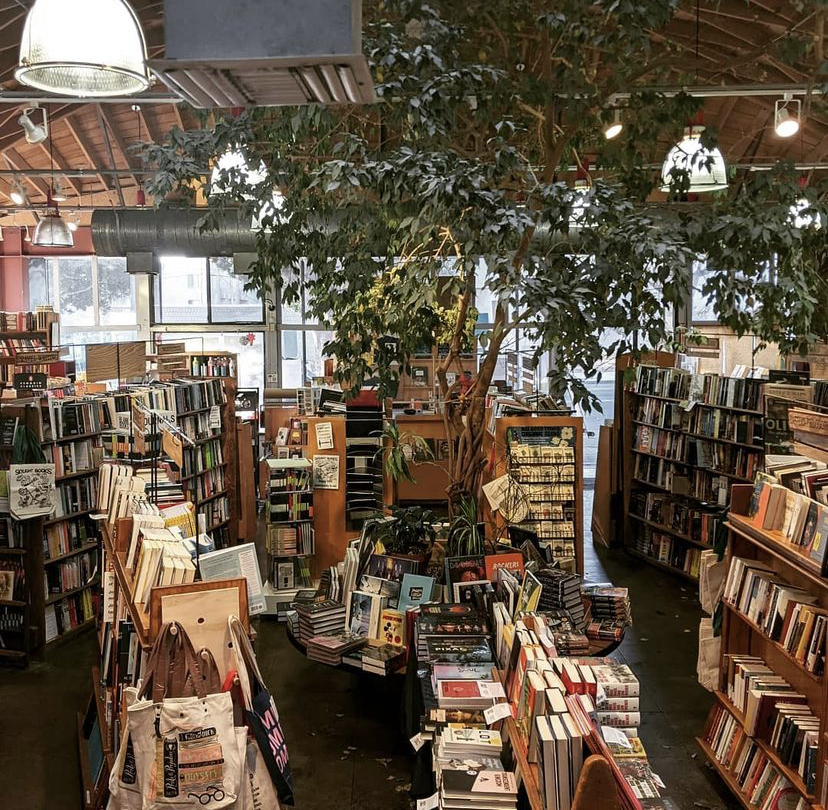 Aerial photo of the Skylight Books store, with books on display and vines hanging from the ceiling.