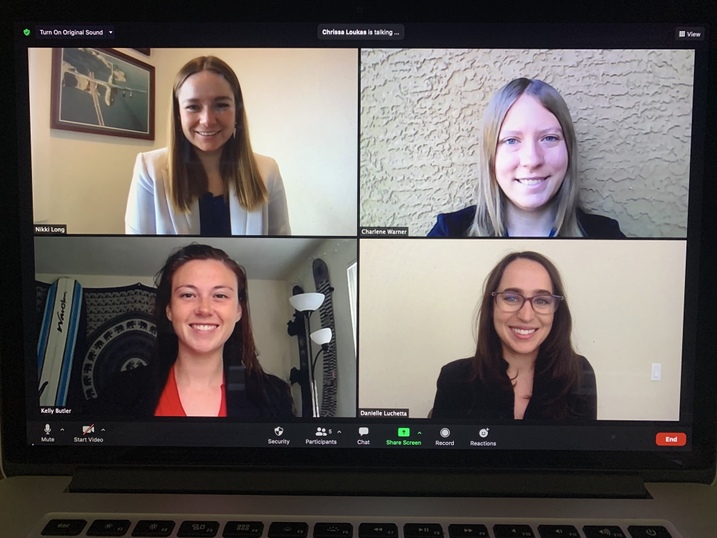 Laptop open to Zoom call with Nikki Long, Charlene Smith, Kelly Butler and Danielle Luchetta.