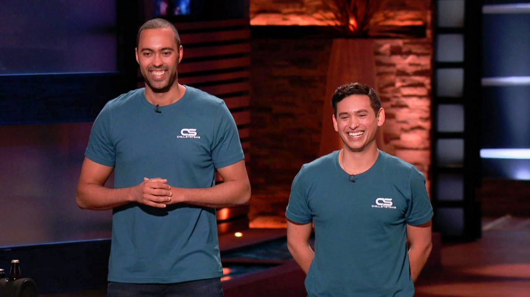 """Chase Mitchell and Brian Bloch, wearing Chill Systems t-shirts, present their company on the set of """"Shark Tank."""""""