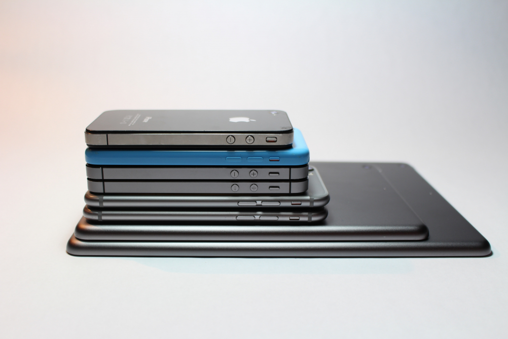 Stack of Apple products.