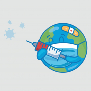 An animated image of the earth wearing a mask with a band-aid and holding a vaccine.